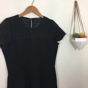 J. Crew lace eyelet ponte black dress